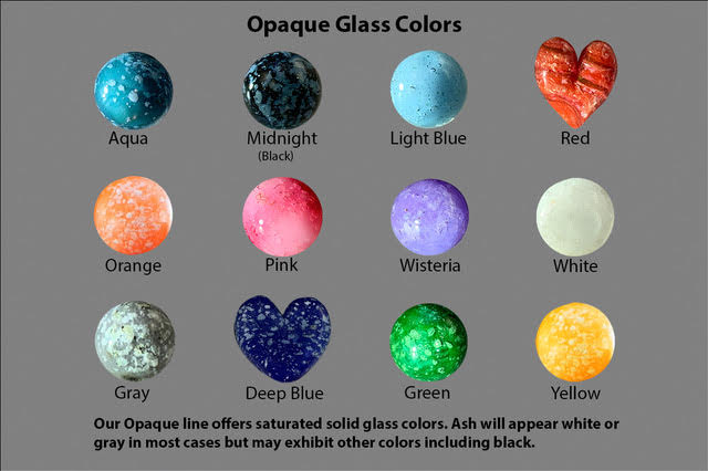 Opaque glass color chart. Top row, left to right: Aqua, midnight (black), light blue, red. Middle row, left to right: Orange, pink, Wisteria, white. Bottom row, left to right: Gray, deep blue, green, yellow. Our opaque line offers saturated solid glass colors. Ash will appear white or gray in most cases, but may exhibit other colors such as black.