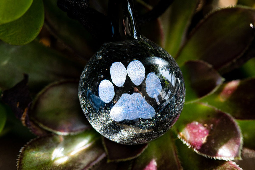 Pawprint Hologram Pendant with Infused Cremation Ash by DanN - GLASS-JEWELRY | $89.00, ashes in glass