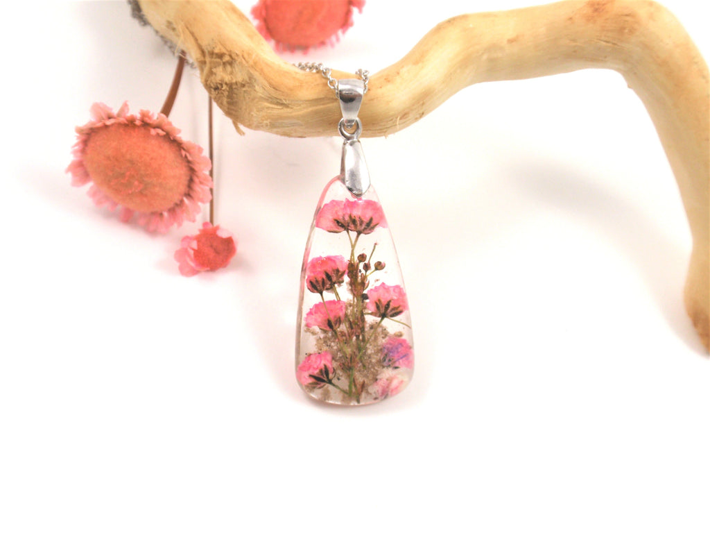 Baby's Breath Flower Drop Pendant with Cremains