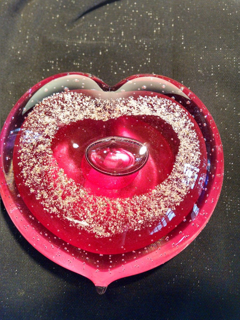 Pink Memorial Glass Heart with Cremation Ash from People and Pets