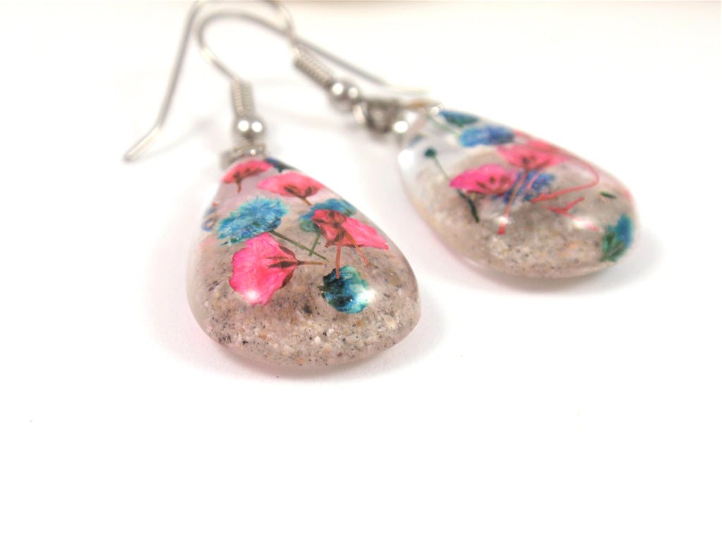 Pink and Blue Baby's Breath Earrings with Cremains