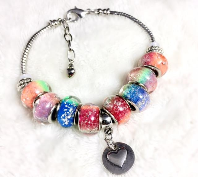 Rainbow's Bridge Bracelet with 10 Ash Beads - Cremation Jewelry | $209.00
