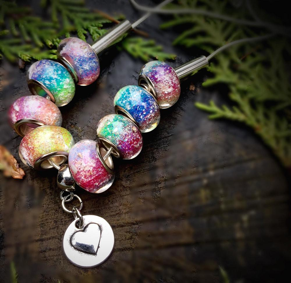 Rainbow's Bridge Necklace with 8 Ash Infused Beads - Cremation Jewelry | $169.00