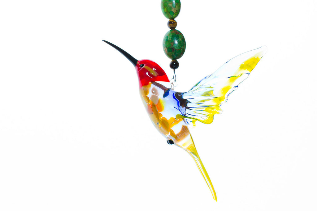 Red Headed Hummingbird Sympathy Gift with Tiger Eye and Turquiose Beading - Cremation Jewelry | $47.99
