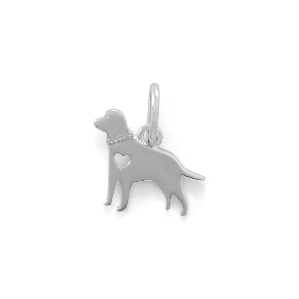 Rhodium Plated Darling Dog Charm