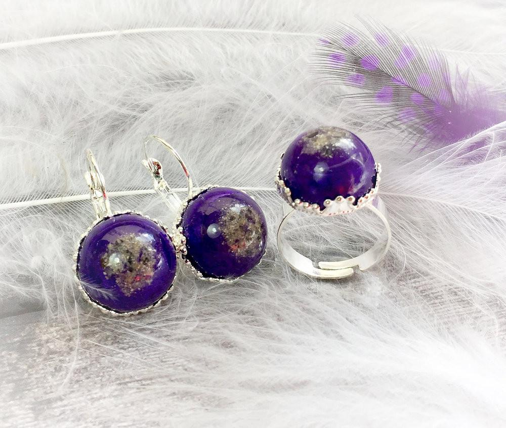 Ring and Earring Set with Infused Ashes - Solid Color Style