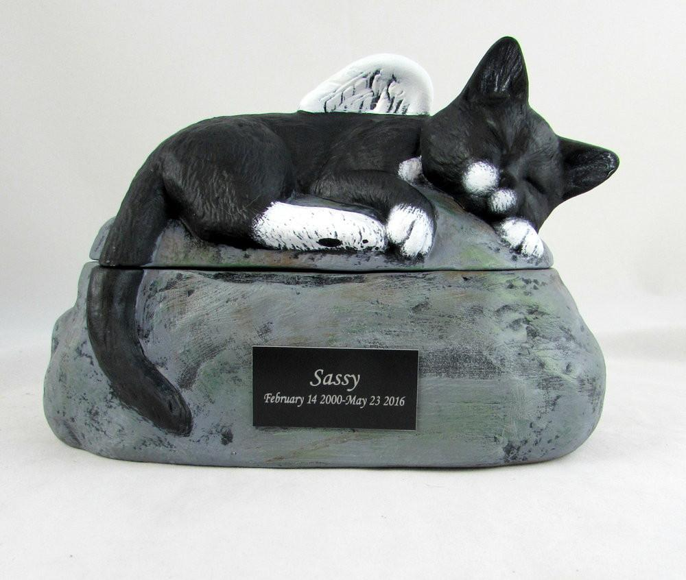 Short Haired Custom Painted Ceramic Cat Urn with Wings Not Tail - PRIVATE