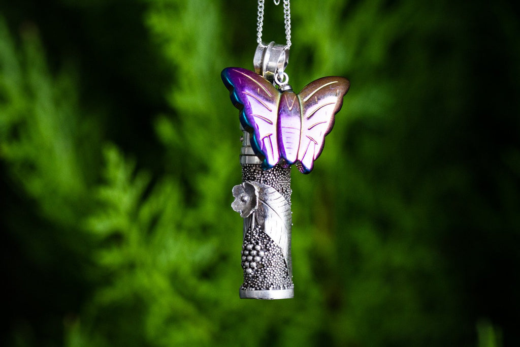 Silver Cremation Necklace with Butterfly Charm - Cremation Jewelry | $68.00