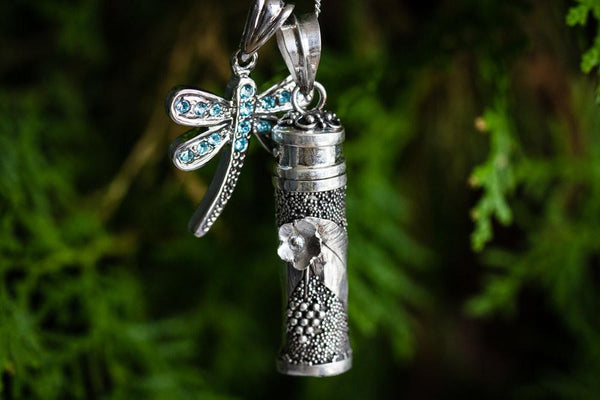 Silver Flower Dragonfly Sympathy Necklace By Spirit Pieces