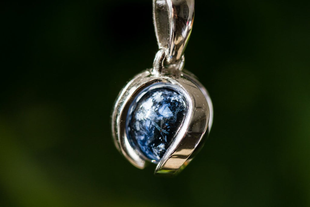 Silver Midnight Marble Memorial Necklace by Charles - GLASS-JEWELRY | $135.00, ashes in glass