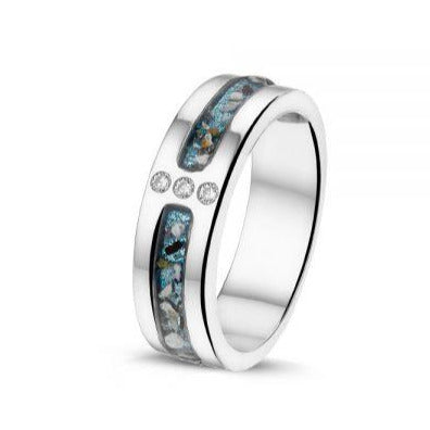 Silver Ring with Cremation Ash 3 Gem - Cremation Jewelry | $229.00