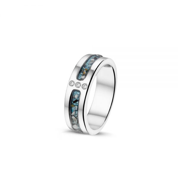 White Gold Ring with 3 Gem Diamonds with Cremation Ash - Cremation Jewelry | $1375.00