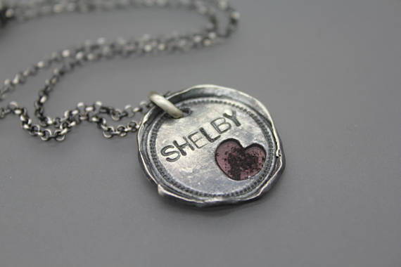 Wax Seal Pendant with Cremains Heart and Name - Cremation Jewelry | $229.00