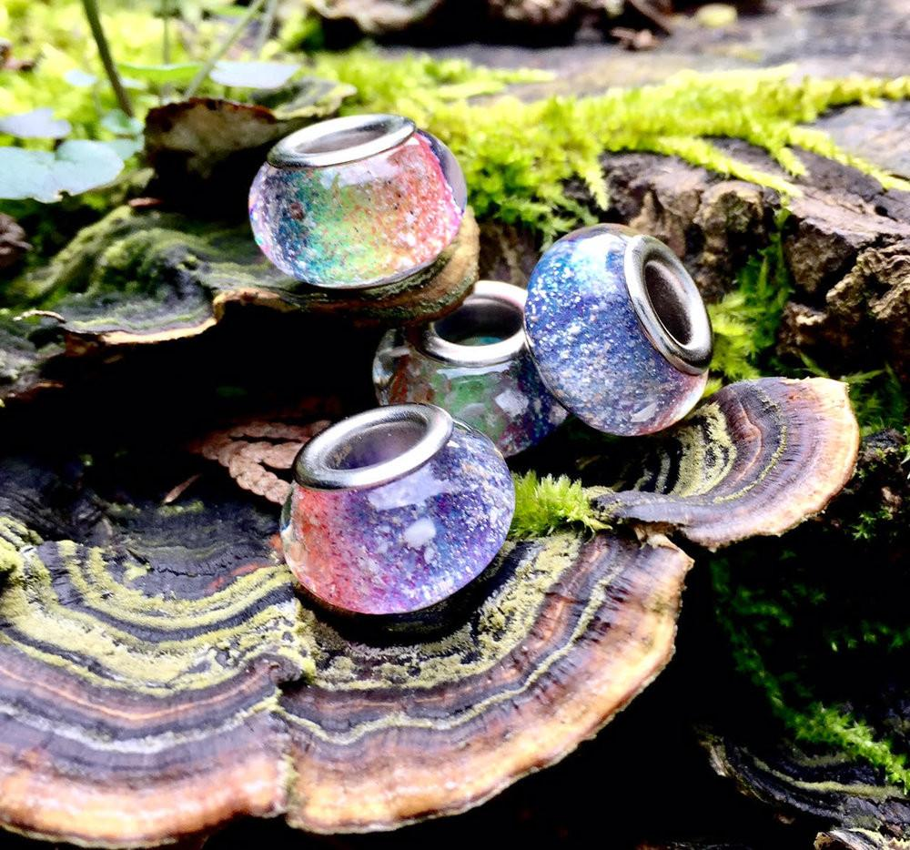 Single Rainbow Bead with Infused Cremation Ash - Pandora Compatable - Cremation Jewelry | $52.00