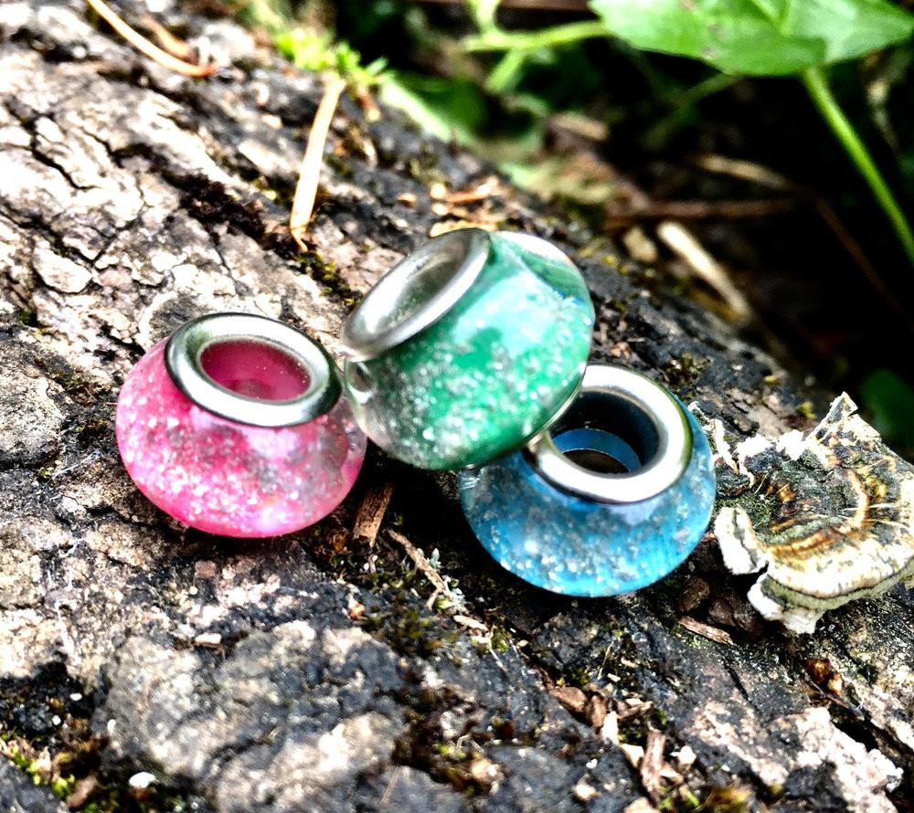 Solid Color Pandora Beads with Cremains