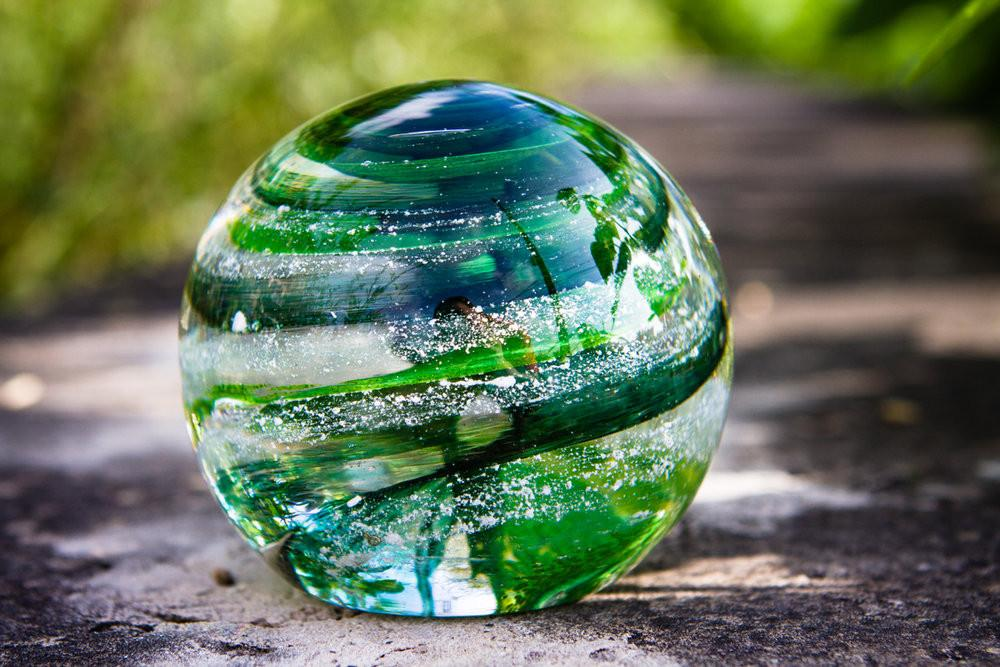 Sparkle Paperweight Orb with Infused Cremains