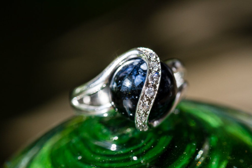Midnight Sparkle Ring with 12mm Glass Marble Infused with Cremains - Cremation Jewelry | $119.00