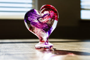 Glass Heart with Cremains - Standing by Aaron - PAPERWEIGHT | $159.00, ashes in glass