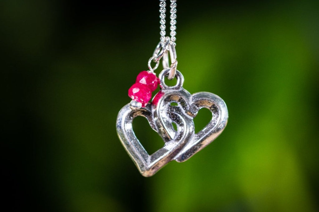 Sterling Silver Double Heart Necklace with Birthstone Pendant