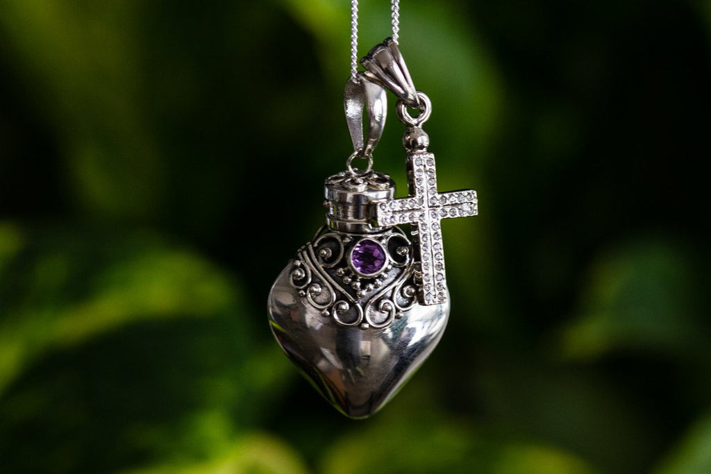 Sterling Silver Heart Pendant with Cross - Cremation Jewelry | $89.99