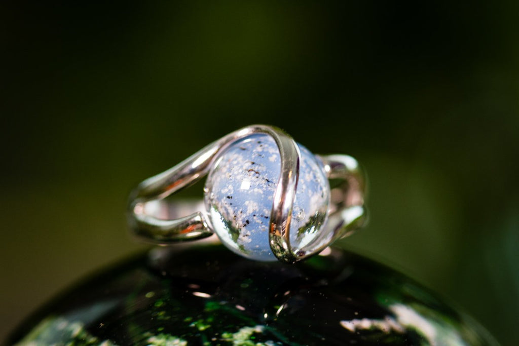 Sterling Silver Ring with 12mm Opaque Glass Marble Infused with Cremains
