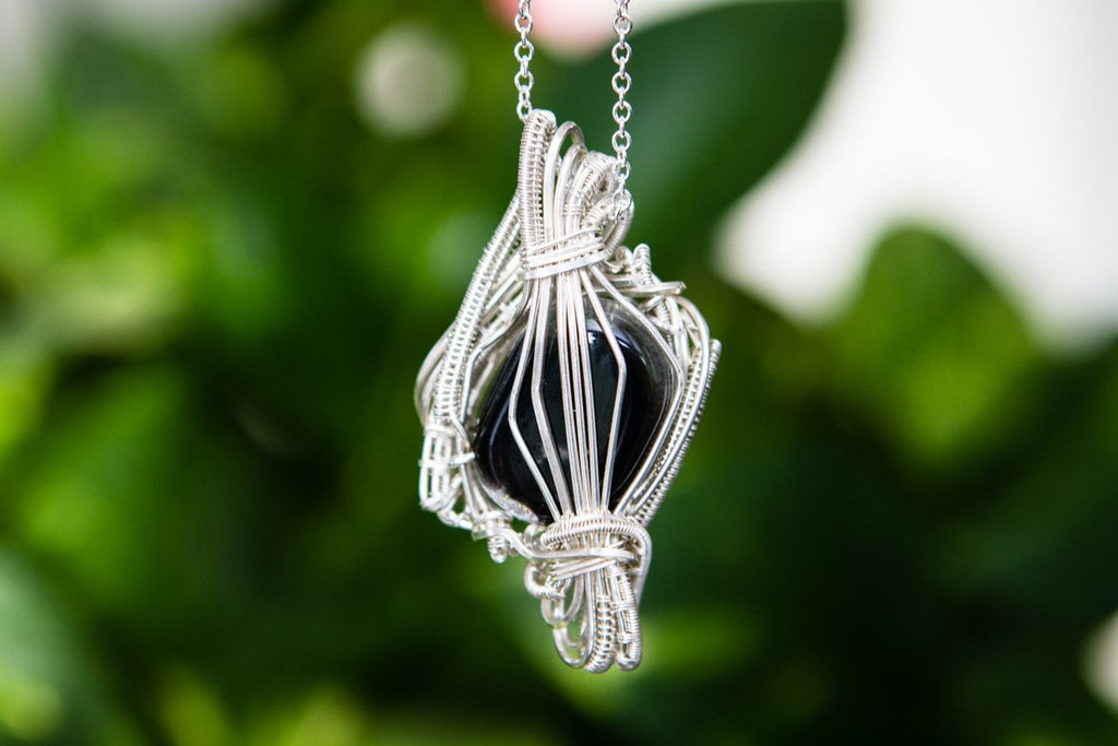 Madison Sterling Silver Wire Wrapped Dichroic Glass Pendant with Cremation Ash - Cremation Jewelry | $269.00