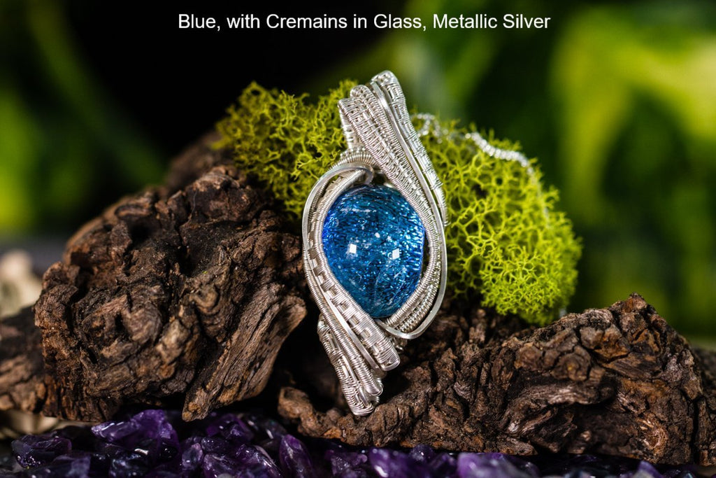 Madison Sterling Silver Wire Wrapped Dichroic Glass Pendant with Cremation Ash - Cremation Jewelry | $234.00