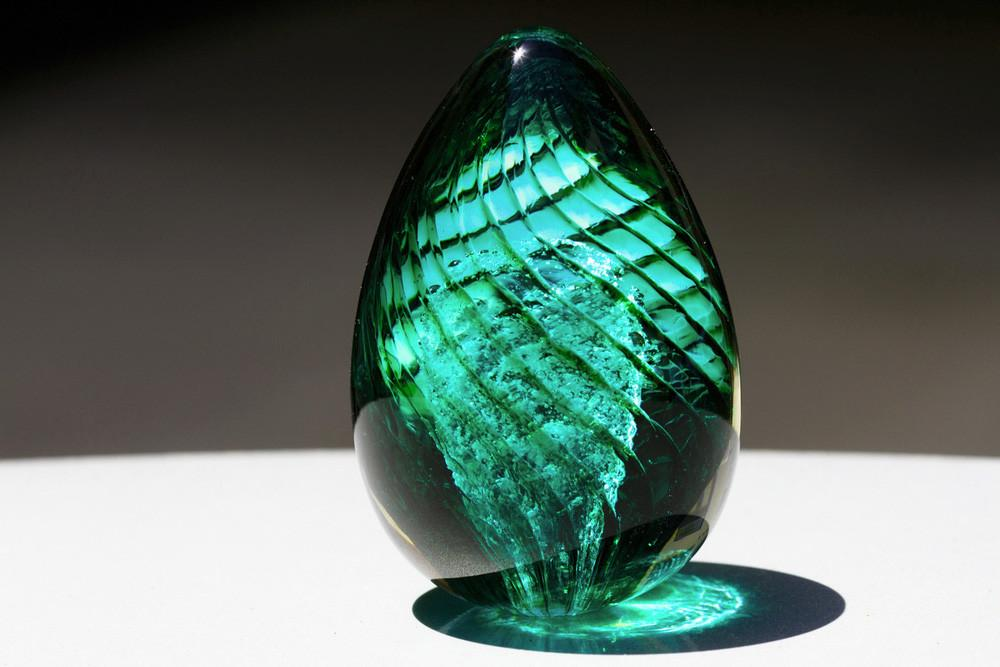 Teal Spiral Glass Egg with Cremains with Cremains - PAPERWEIGHT | $94.00