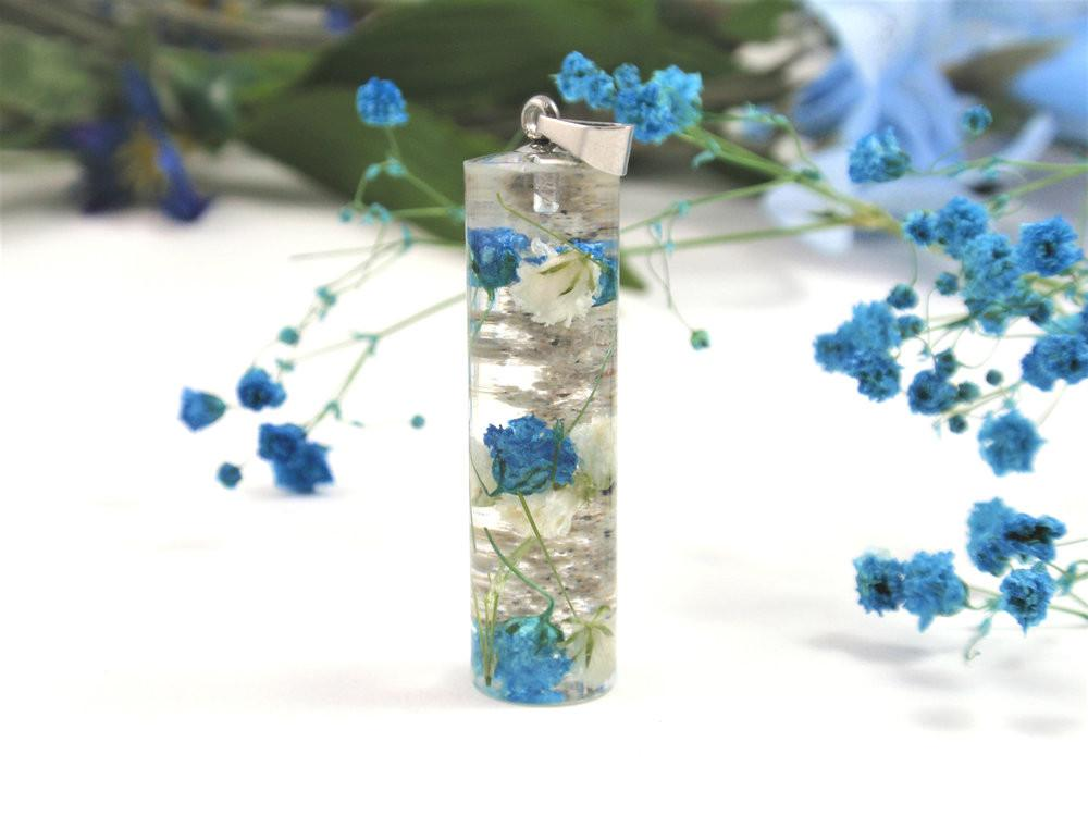 Terrarium Necklace with Infused Ashes and Baby's Breath Flowers