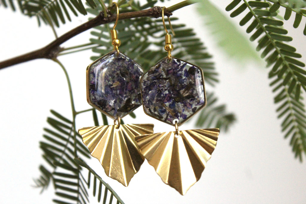 Texas Mountain Laurel Dangle Earrings with Cremation Ash