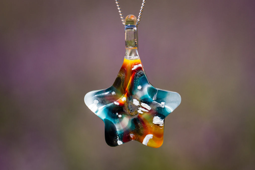 Tie Dye Star Pendant with Infused Cremation Ash