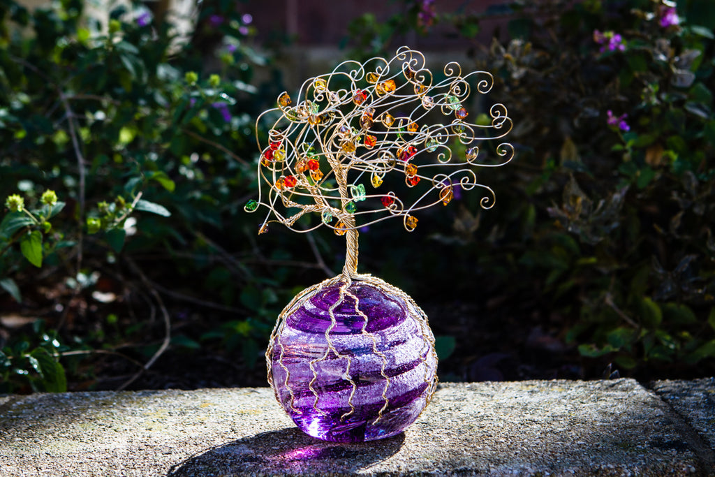 Golden Sparkle Tree of Life with Swarovski Crystals and Cremains Infused Orb - PAPERWEIGHT | $339.00