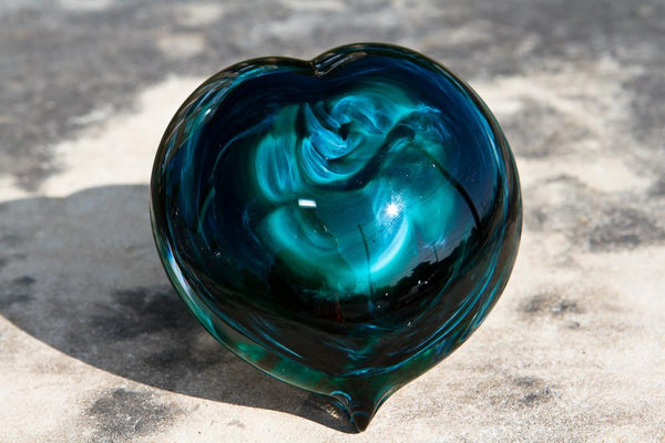 Turquoise Glass Heart Paperweight With Cremation Ash By