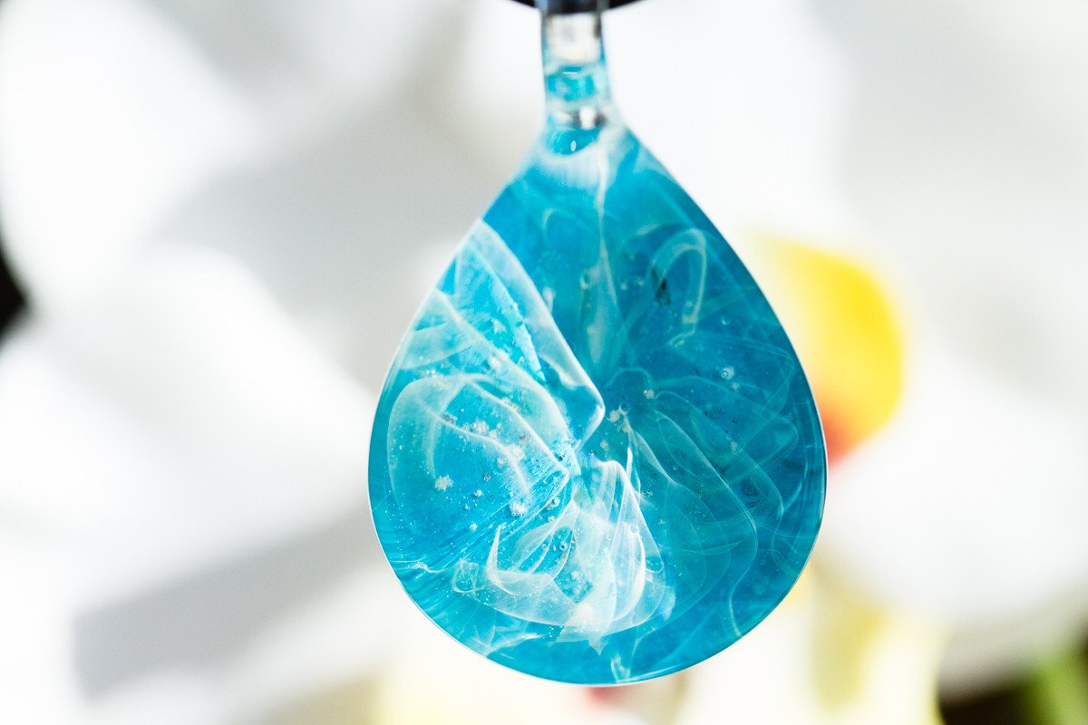19b34f66ba05 Turquoise Teardrop Pendant with Infused Cremation Ash by Jonathan ...