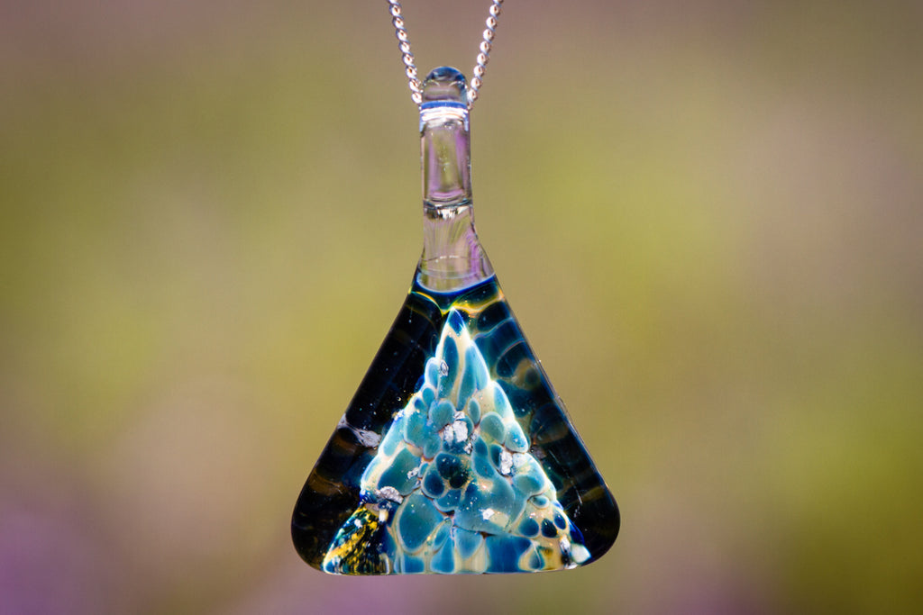 Turquoise Triangle Pendant with Infused Cremation Ash