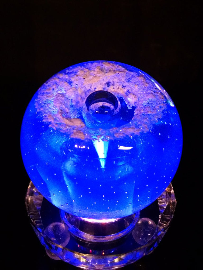 Veiled Blue Memorial Glass Paperweight with Cremains Ash From Person Dog or Cat