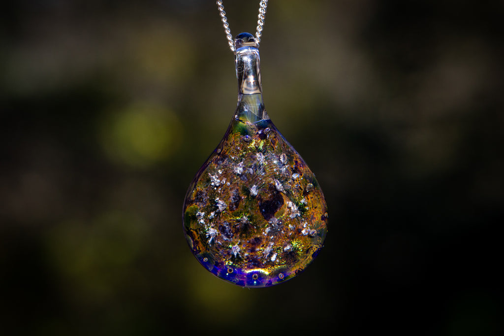 Volcanic Teardrop Pendant with Mt. Saint Helens Ash - Cremation Jewelry | Glass with Cremation Ash | $114.00