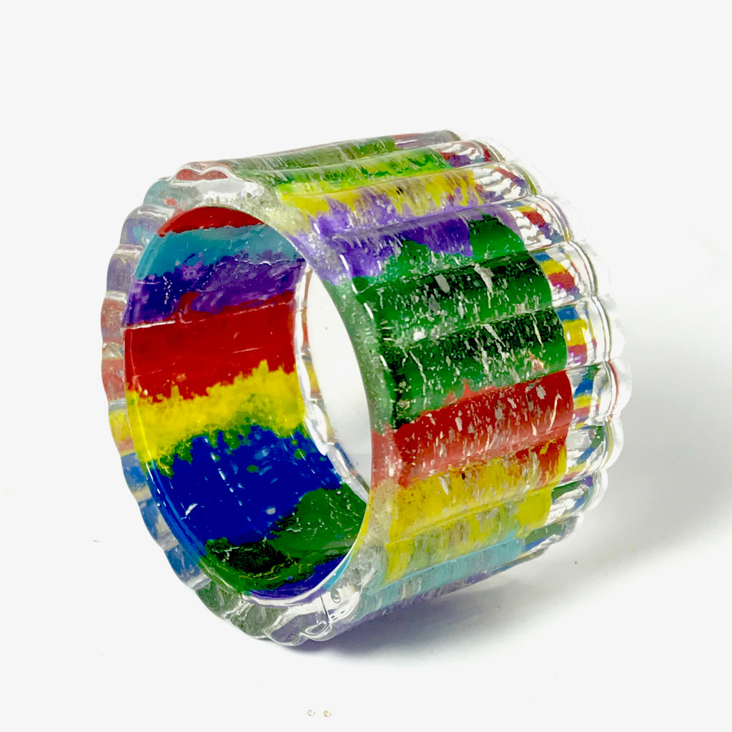 Rainbow Votive with Cremation Ash