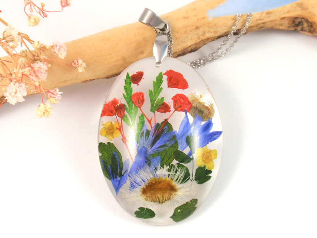 wildflower necklace with cremains