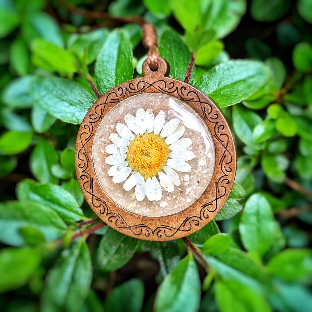 Wood and Daisy Memorial Pendant with Cremains - Cremation Jewelry | $0.00