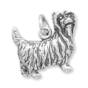 Oxidized Sterling Silver Yorkshire Terrier Charm