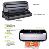 Freshlocker Vacuum Sealer Machine, Automatic Food Sealer for Food Savers, Include Starter Bags & Roll Sets, Built-in Cutter|Dry&Moist Food Modes|Led Indicator Lights|Easy to Clean, Black/Silver - freshlocker