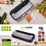 Freshlocker VS160S Vacuum Sealer Machine Automatic Air Sealing System Sealer Machine with Starter Bags and Rolls Sets Dry & Moist Modes for Food Saver and Sous Vide(Black/Sliver,Stainless Steel) - freshlocker