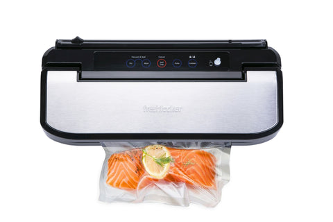 Freshlocker VS160S Vacuum Sealer Machine Automatic Air Sealing System Food Sealer Machine with Stainless Steel Cover & Cutter, Starter Bags and Rolls Sets for Food Saver and Sous Vide(Black/Silver) - freshlocker