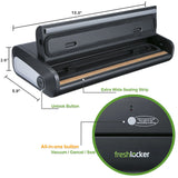 Freshlocker VS90 Vacuum Sealer, One-Button Type Automatic Vacuum Packing Machine, Food Sealer Machine with Starter Bags and Rolls Sets for  Sous Vide and Food Saver (Black) - freshlocker