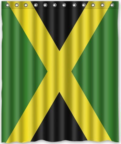 60x72 Inches Jamaican Flag Shower Curtain New Waterproof Polyester Fabric Bath Curtain ( Shower Rings Included )