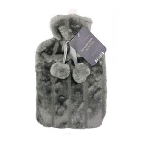 Thermotherapy Large Hot Water Bottle & Gorgeous Faux Fur Soft Fleecy Cover Silver By Super Utensil Ltd