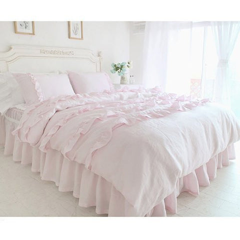Auvoau Princess Wedding Bed Set Korean Romantic Ruffle Duvet Cover Bedding Set Rural Queen Size Girls Bed in a Bag 4pcs (Twin)
