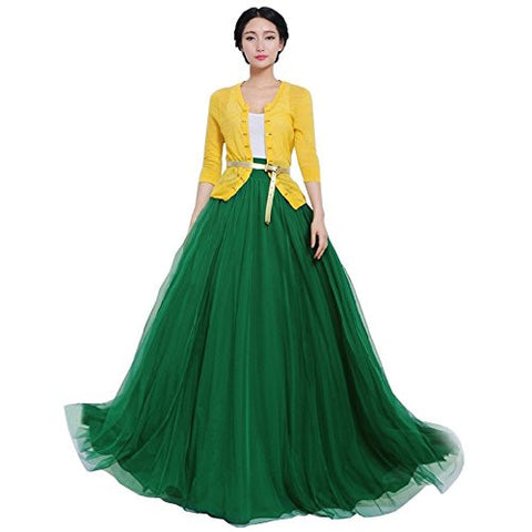Joyci Summer Autumn Fashion Women's Bowknot High Waist Tiered Dress Long Maxi Skirt Gown (Green)