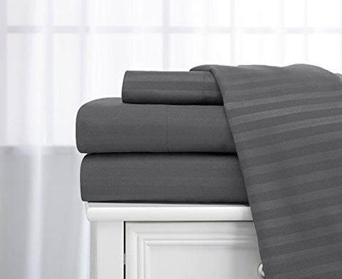 queen size classic sateen dobby stripe sheet set
